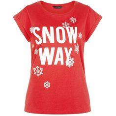 Red Snow Way T-Shirt (€11) ❤ liked on Polyvore featuring tops, t-shirts, red t shirt, cotton t shirt, slogan tees, red top and cotton tee