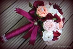 Deep red and gold brides bouquet with brooch, jewelled detail. Unique one off brides bouquet wedding flowers artificial bouquet