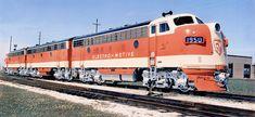 EMD F7 diesel electric locomotive three unit Demonstrator set, 1950 by alcomike43, via Flickr