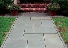 Patterns Kid Stone Masonry In Marblehead Ma Bluestone Walkway Pattern Concrete Front Steps, Backyard Walkway, Outdoor Walkway, Brick Walkway, Front Walkway, Outdoor Landscaping, Walkway Ideas, Front Path, Front Courtyard