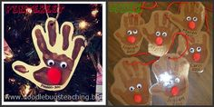 Reindeer ornaments and other Christmas parent gift ideas and board decor. Did this last year...so cute!