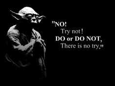 """""""Try not. Do or do not. There is no try."""" --Yoda"""
