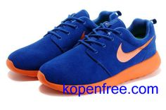 Kopen goedkope heren Nike Roshe Run Schoenen (kleur:flirt,binnen-blauw;logo,tong-oranje) online in nederland.