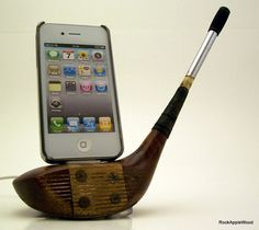 For my SIL - Antique Vintage Wood Golf Club iPhone Dock ICN418 by rockapplewood
