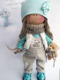 Купить Мятная Кнопочка со съемной одеждой - мятный, кукла малышка, тыквоголовка, кукла для девочки