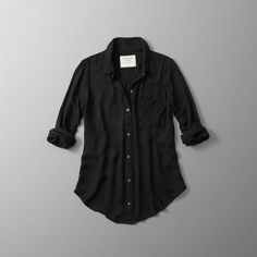 Abercrombie & Fitch Drapey Button-Up Shirt ($58) ❤ liked on Polyvore featuring tops, black, shirt tops, curved hem shirt, drapey shirt, lightweight shirt and lightweight button down shirt