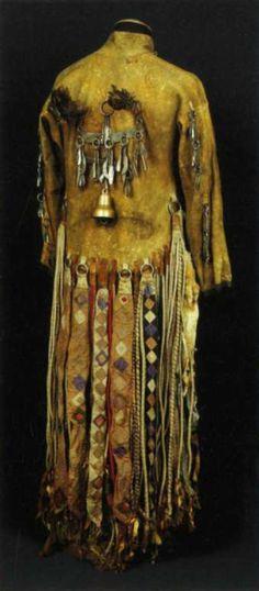 Costume shaman. The end of the XIX century. Sojoty. Buryat-Mongol Autonomous Republic Tunkinsky district, Oka khoshun, Ulus Gargan. Receipt from 1928 through Shimyta Sandakova PG Poltoradneva. Skin goat Gora, cloth. Pendants - steel, bronze, eagle feather. Length: 150 cm Sleeve length 56cm. width 52cm