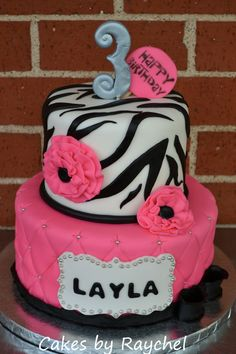 My Creative Way: Hot Pink Zebra Cake with Ruffle Flowers. Sweet Friday