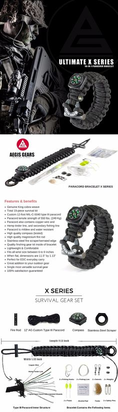 Aegis gears Tactical Paracord Bracelet X Series - Outdoor Emergency Survival Gear - Adjustable, Fire Starter, Compass, Fishing Kit, Military 550 Cord for EDC Everyday Carry & Bug Out Preppers #paracord #paracordbracelet #survivalgear #survivalbracelet #paracordsurvivalbracelet #survivalgear #campinggear #outdoorsurvivalgear #bugout #bugoutgear
