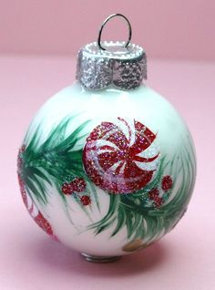 Personalized Peppermints Ornament - Babys Birth or Birthday or Christmas - Hand Painted Glass Ball Ornament