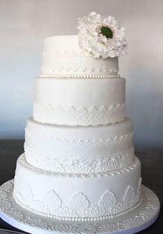 big white flower wedding cake