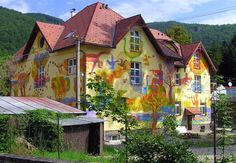 Photographer's Note  Slovakia. This funny house brightens the streetsň of Rajecke Teplice.