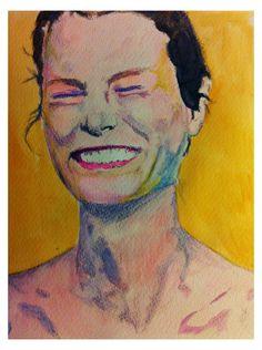 Lachende vrouw, portret, aquarel, gemaakt door Grietje Drooglever www.feestdercreativiteit.wordpress.com