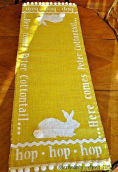 DIY No-sew- Stenciled Burlap Bunny Table Runner