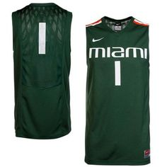 Nike Miami Hurricanes #1 Replica Basketball Jersey - Green