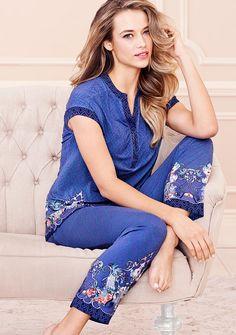 Embraceable Cool Nights Pajamas in Angelic Scroll Border Sexy Pajamas, Pajamas Women, Night Pajama, Night Suit, Barefoot Blonde, Pajama Top, Clothing Patterns, Nightwear, Lounge Wear