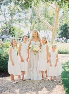 Pretty flower girls in all white: http://www.stylemepretty.com/little-black-book-blog/2016/04/18/family-florals-make-this-napa-valley-wedding-a-winner/ | Photography: Hannah Suh - http://www.hannahsuh.com/