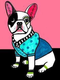 Off Today- Frenchi French Bulldog Art Angel art Tile Ceramic Coaster Print of painting by Heather Galler French Bulldog Art, French Bulldogs, Dog Poster, Print Poster, Pink Dog, Blue Dog, Panel Art, Mexican Folk Art, Tile Art