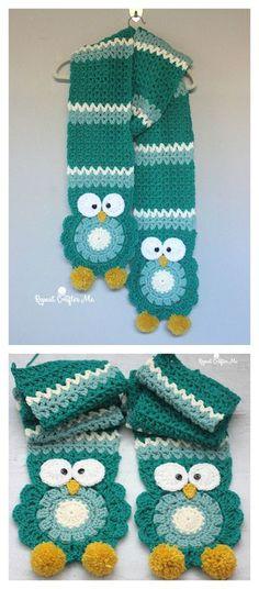 Owl Super Scarf Free Crochet Pattern-click on the name on the bottom to get the pattern. Crochet Gifts, Cute Crochet, Crochet For Kids, Crochet Owls, Crochet Hearts, Crochet Animals, Crochet Food, Hand Crochet, Crochet Scarves