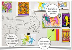 Graffiti figures by Keith Haring on whiteboard