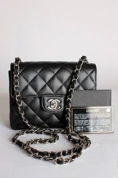 Chanel 2.55 Mini Classic Flap Bag - black caviar leather