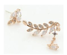Chic Branch Crystal Paired Earrings with Fringe
