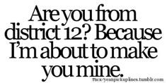 Are you from district 12? Becuase I'm about to make you mine. Hunger games pickup line