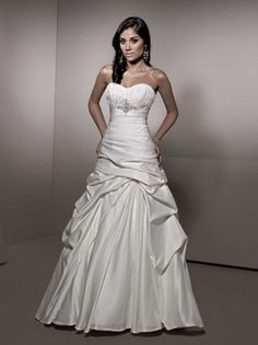 Ella Rosa BE150 Pintuck A Line Wedding Dress