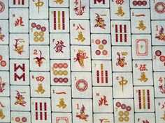 Chinese mah jong on cloth