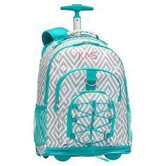 Gear-Up Preppy Diamond Rolling Backpack, Grey | PBteen