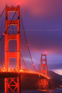 The Golden Gate Bridge At Sunset I'll Visit San Francisco One Day ! Places Around The World, Oh The Places You'll Go, Travel Around The World, Around The Worlds, San Francisco City, San Francisco Travel, San Francisco California, Photos Voyages, Vacation Places