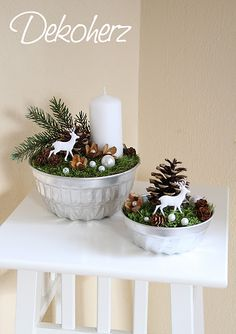 Easy to make WINTER SCENE Bowl painted silver add foam or any filler moss or felt then beads of other shiny ornaments cut out deer candles pine cones branches etc Seasons Winter > Christmas Noel Christmas, Christmas Candles, Christmas Centerpieces, Christmas Is Coming, Xmas Decorations, Winter Christmas, Christmas Crafts, Christmas Ornaments, Creation Deco