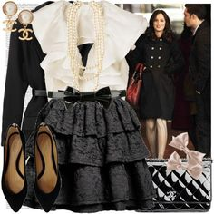 Love the skirt, the coat, the general look. Earrings meh, blouse: you have to be able to pull it off. Blair Waldorf Style | Jillian Dodd
