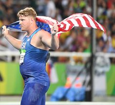 Ryan Crouser (USA) celebrates winning the gold medal in the shot put event at Estadio Olimpico Joao Havelange during the Rio 2016 Olympic Summer Games.