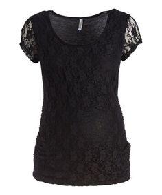 Black Lace Maternity Scoop Neck Top #zulily #zulilyfinds