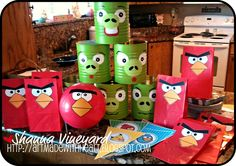 angry bird bowling, hidden eggs and treat bags. Art Made with Heart: April Card Kit Peeks and Angry Bird Party