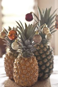 Introducing the Pineapple Christmas Tree, Our New Favorite Holiday Tradition via @PureWow - Centerpiece (?)