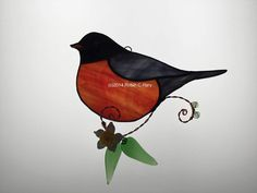 Robin Stained Glass Sun Catcher by robinsglassworld on Etsy https://www.etsy.com/listing/70306418/robin-stained-glass-sun-catcher