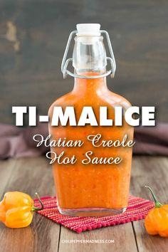 A recipe for Ti-Malice, a popular Caribbean hot sauce originating from Haiti, typically made with Scotch Bonnet chili peppers. It has an interesting origin story in Haitian folklore and has many variations. This is one of our favorite ways to make it. Hot Sauce Recipes, Spicy Recipes, Gourmet Recipes, Healthy Recipes, Hot Pepper Recipes, Tuna Recipes, Canning Recipes, Recipies, Hatian Food