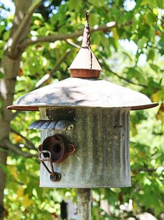 Birdhouse Metal Birdhouse Reclaimed Objects Birdhouse by channa01, $150.00