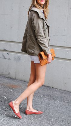 grey jacket, white shops, red shoes, casual summer