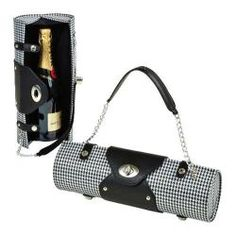 Women's Wine Carrier/Purse in houndstooth. When you're rich so it doesn't dawn on you how fucking trashy this is