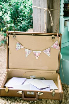 Yes to using vintage suitcases as a place to collect cards from guests // Andie Freeman Photography