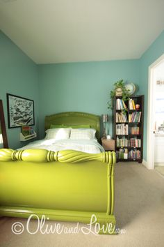 Painted Bed - paint could be a good way to salvage a huge dark bed...maybe another color though