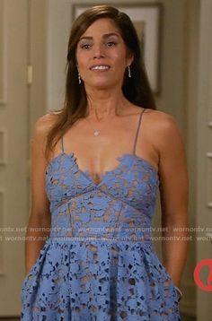 Marisol's blue lace dress on Devious Maids.  Outfit Details: https://wornontv.net/59078/ #DeviousMaids