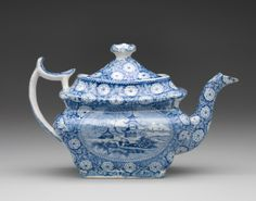 RISD Museum: Enoch Wood and Sons, manufacturer. English, 1818-1846. Teapot, ca. 1840. Earthenware with transfer-print decoration and glaze. 16.5 cm (6 1/2 inches) (height) overall. Gift of the estate of Mrs. Gustav Radeke 31.533