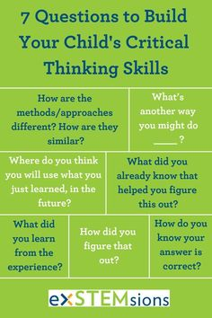 Here are 7 easy questions that you can use to help build your child's critical thinking skills. Use them whenever you find yourself wondering how your child figured something out, or when you want them to think a little more deeply! Problem Solving Skills, Math Skills, Social Skills, Life Skills, Coping Skills, Social Issues, Critical Thinking Activities, Critical Thinking Skills, Learning Activities