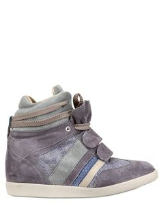 SERAFINI MANHATTAN - 70MM PYTHON EMBOSSED SUEDE SNEAKERS - LUISAVIAROMA - LUXURY SHOPPING WORLDWIDE SHIPPING - FLORENCE
