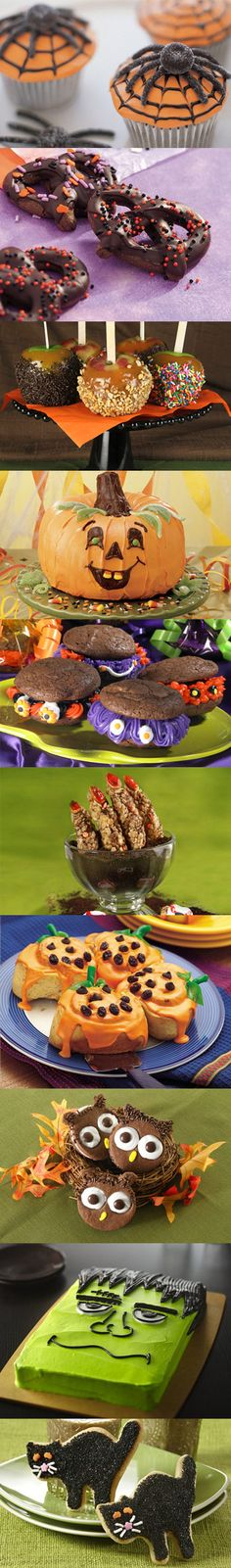 Halloween party treats! I just love Halloween! Love the Jack O Lantern cinnamon rolls.