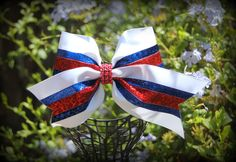 white red aand blue cheer bow. See more at  Facebook Ribbons and Bows oh My or on our website http://ribbonsandbowsohmy.wix.com/ribbonsandbowsohmy